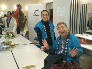 今日は大丸心斎橋劇場にて、「関西演芸協会初笑い寄席」です!楽屋の三吾師匠と桂文福師匠!