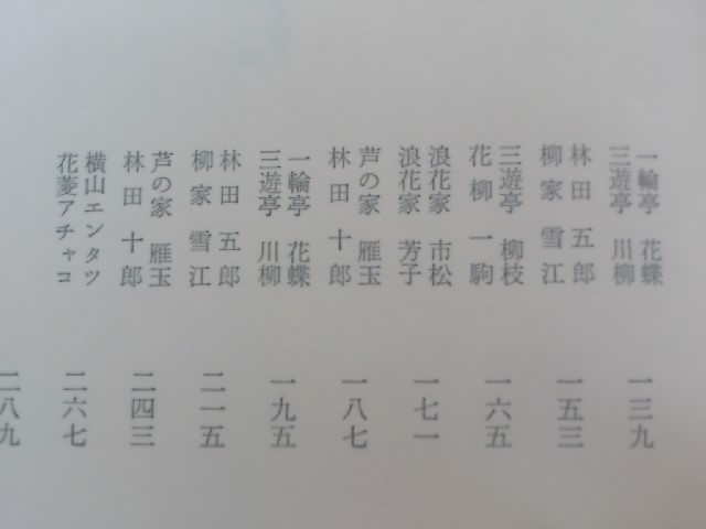 秋田實名作漫才集の目次。昭和の名人がずらっと並びます。もはや絶版です。持ってるのが自慢です(笑)