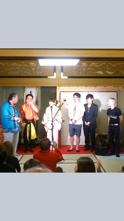 法善寺寄席は伏見龍水曲独楽の会でした!左から文福師、龍水師、虹友美師、ひこーき雲師、シンプレ渡辺師。