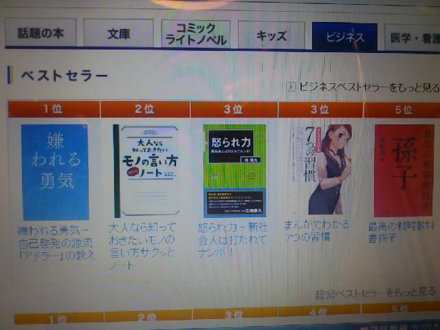 紀伊国屋書店さんの「本日のベストセラー、ビジネス書」の3位に「怒られ力」が!!あくまで「本日」ですが